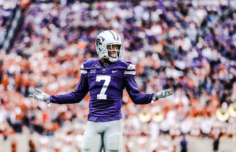 Wide receiver, Isaiah Zuber, expresses a confused and playful look as he waits for the next play during the game against Texas in Bill Snyder Family Stadium on Sept. 29, 2018. The Wildcats fell to the Longhorns 19-14. (Emily Lenk | Collegian Media Group)
