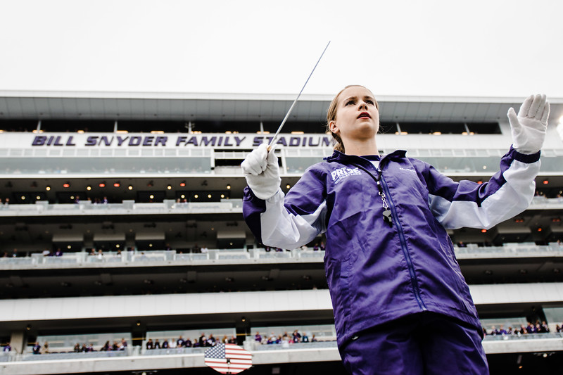 Assistant drum major Madison Hines leads the band in the pregame show against Texas in Bill Snyder Family Stadium on Sept. 29, 2018. The Wildcats fell to the Longhorns 19-14. (Meg Shearer | Collegian Media Group)