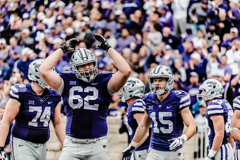 Offensive line Tyler Mitchell celebrates after a wildcat touchdown during the game against Texas in Bill Snyder Family Stadium on Sept. 29, 2018. The Wildcats fell to the Longhorns 19-14. (Meg Shearer | Collegian Media Group)