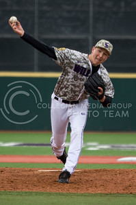 Freshman right hand pitcher, Tyler Eckberg, pitches the ball during the K-State game against UC Riverside at Tointon Stadium on Mar. 12 2017. (Sabrina Cline | The Collegian)