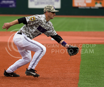 Senior third baseman, Quintin Crandall, charges the bunt during the K-State game against UC Riverside at Tointon Stadium on Mar. 12 2017. (Sabrina Cline | The Collegian)