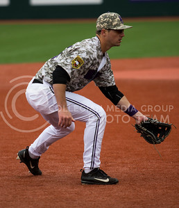 Senior third baseman, Quintin Crandall, steps into ready position during the K-State game against UC Riverside at Tointon Stadium on Mar. 12 2017. (Sabrina Cline | The Collegian)