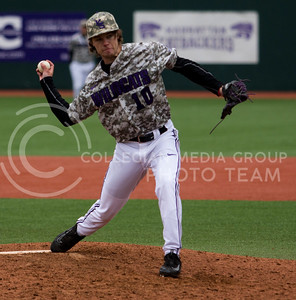 Senior right hand pitcher, Nick Jones, delivers the ball during the K-State game against UC Riverside at Tointon Stadium on Mar. 12 2017. (Sabrina Cline | The Collegian)