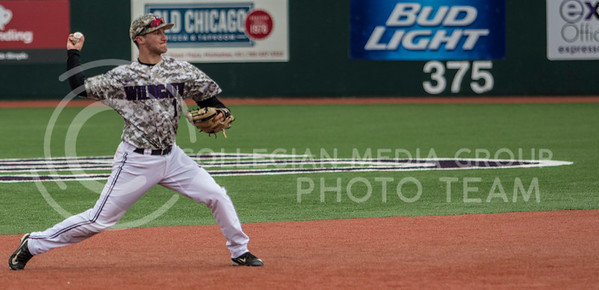 Senior shortstop, Jake Wodtke, fields the ground ball, throwing it to first base during the K-State game against UC Riverside at Tointon Stadium on Mar. 12 2017. (Sabrina Cline | The Collegian)