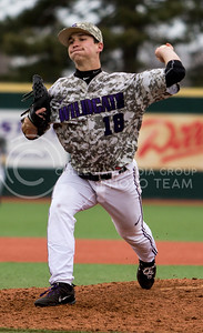 Freshman left hand pitcher, Will Brennan, pitches the ball during the K-State game against UC Riverside at Tointon Stadium on Mar. 12 2017. (Sabrina Cline | The Collegian)