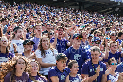 K-State students cheer on the Wildcats against the Charlotte 49ers at Bill Snyder Family Stadium on Sept. 9, 2017. (Logan Wassall | Collegian Media Group)
