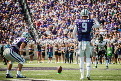 K-State senior, Mitch Lochbihler, prepares to kickoff the ball against the Charlotte 49ers at Bill Snyder Family Stadium on Sept. 9, 2017. (Logan Wassall | Collegian Media Group)