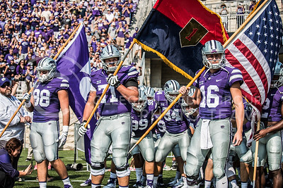 The Wildcats gets ready to take the field against the Charlotte 49ers at Bill Snyder Family Stadium on Sept. 9, 2017. (Logan Wassall | Collegian Media Group)