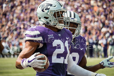 K-State sophomore, Carlos Strickland II, celebrates after running the ball against the Charlotte 49ers at Bill Snyder Family Stadium on Sept. 9, 2017. (Logan Wassall | Collegian Media Group)