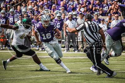 Senior, Jesse Ertz, carries the ball at Bill Snyder Family Stadium against the Charlotte 49ers on Sept. 9, 2017. (Logan Wassall | Collegian Media Group)