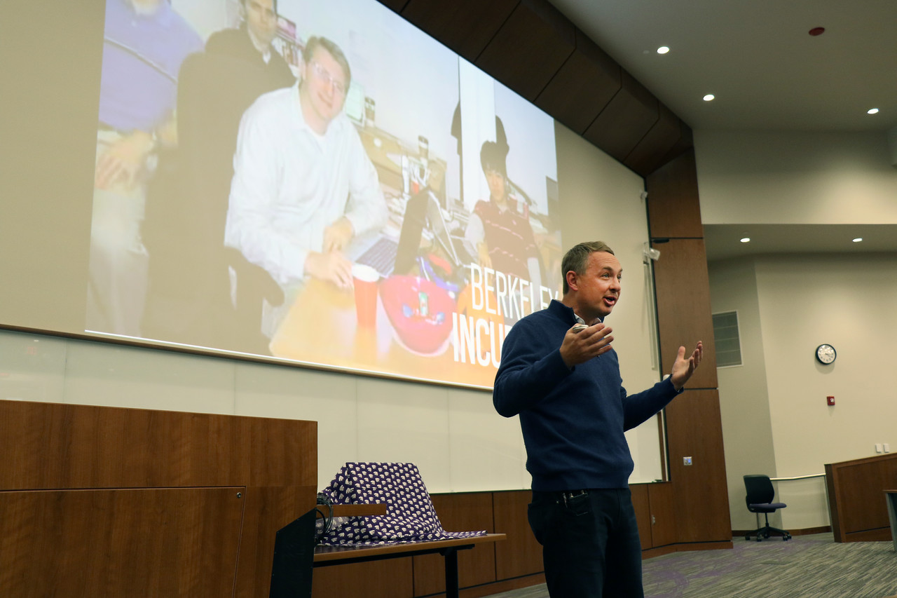"Brett Wilson, who founded TubeMogul, which Adobe acquired for $540 million, speaks at K-State Launch on Wednesday, March 14, 2018, in the College of Business Building. K-State Launch is an entrepreneurial idea competition for K-State students who have new venture ideas.  <br /> <br /> Wilson, who has been featured in the Wall Street Journal and the New York Times, said he has found that the main difference between those who are successful in start-ups and those who are not is whether their ""do"" is as big as their ""say.""<br /> <br /> At K-State Launch, Wilson provided five tips for prospective entrepreneurs: 1) Make your college your lab. Wilson advised students to use the resources currently available to them while they are in school, including the possibility of calling alumni entrepreneurs to seek feedback on their ideas. 2) Be aware that culture is everything. Wilson said a great company culture attracts likeminded people. 3) Ride the tsunami. Wilson advised students to try to jump into big venture markets where growth is already happening. 4) Destroy the status quo. His company gained a platform by calling out issues in how major competitors treated customers and handled business. The TubeMogul brand was strengthened as its leaders told the truth about problems in their sphere, Wilson said. 5) Stay self-aware. Wilson knew when to sell and is now vice president and general manager of advertising at Adobe. (Tiffany Roney 