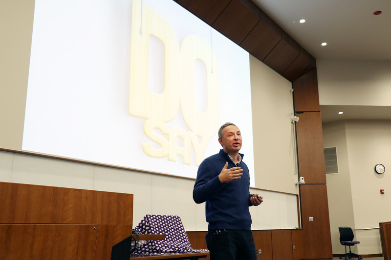 "Brett Wilson, who founded TubeMogul, which Adobe acquired for $540 million, speaks at K-State Launch on Wednesday, March 14, 2018, in the College of Business Building. Wilson, who has been featured in the Wall Street Journal and the New York Times, said he has found that the main difference between those who are successful in start-ups and those who are not is whether their ""do"" is as big as their ""say.""<br /> <br /> At K-State Launch, Wilson provided five tips for prospective entrepreneurs: 1) Make your college your lab. Wilson advised students to use the resources currently available to them while they are in school, including the possibility of calling alumni entrepreneurs to seek feedback on their ideas. 2) Be aware that culture is everything. Wilson said a great company culture attracts likeminded people. 3) Ride the tsunami. Wilson advised students to try to jump into big venture markets where growth is already happening. 4) Destroy the status quo. His company gained a platform by calling out issues in how major competitors treated customers and handled business. The TubeMogul brand was strengthened as its leaders told the truth about problems in their sphere, Wilson said. 5) Stay self-aware. Wilson knew when to sell and is now vice president and general manager of advertising at Adobe. (Tiffany Roney 