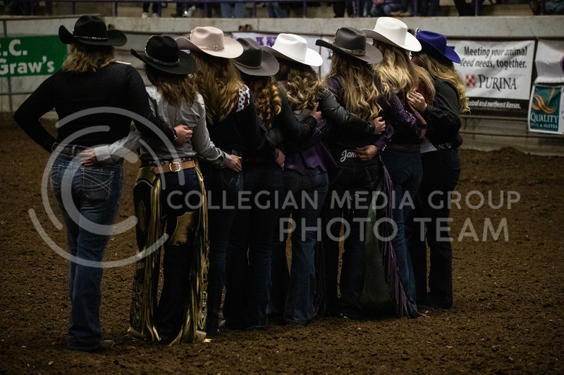 All the rodeo queens line up for a group photo after the new queen is crowned at Weber Arena at the 2020 Kansas State rodeo. (Dalton Wainscott | Collegian Media Group)