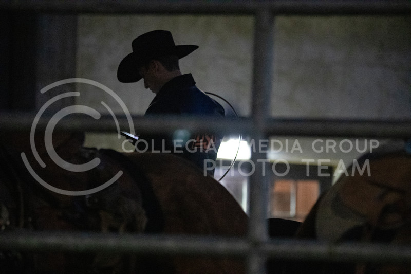 A rider get his horse some exercise outside Weber Arena at the 2020 Kansas State rodeo. (Dalton Wainscott | Collegian Media Group)