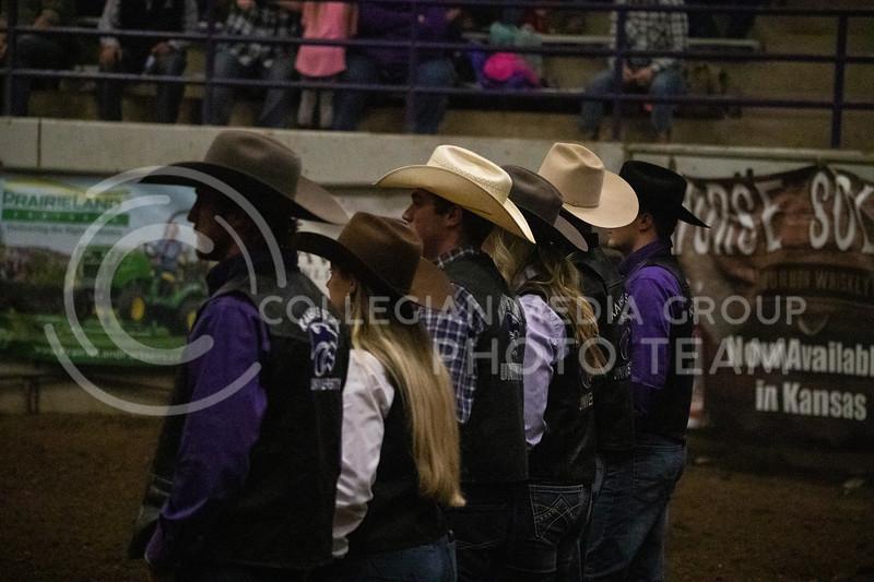 The Kansas State rodeo club seniors are recognized at Weber Arena at the 2020 Kansas State rodeo. (Dalton Wainscott | Collegian Media Group)