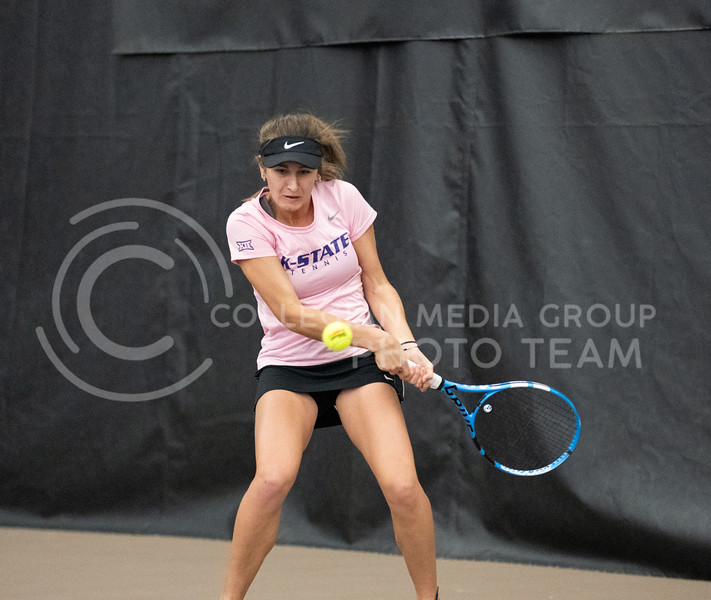 K-State's, Margot Decker, faced Washington at Body First Tennis Center in Manhattan, KS. The Cats fell 4-1 on 02/14/20. (Dylan Connell | Collegian Media Group)