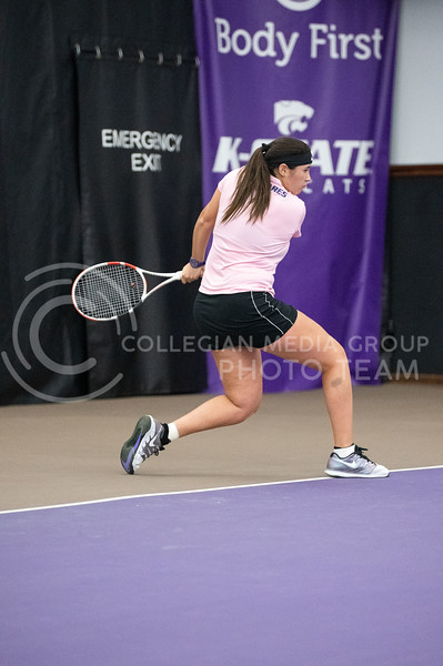 K-State's, Maria Linares, competed against Washington at Body First Tennis Center in Manhattan, KS. The Cats fell 4-1 on 02/14/20. (Dylan Connell | Collegian Media Group)