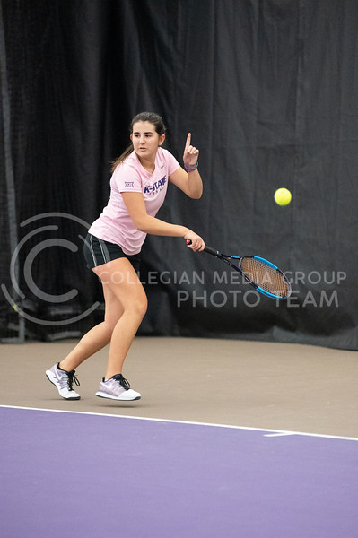 K-State's, Anna Turco, faced Washington at Body First Tennis Center in Manhattan, KS. The Cats fell 4-1 on 02/14/20. (Dylan Connell | Collegian Media Group)