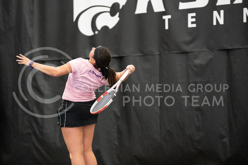 K-State's, Maria Linares, faced Washington at Body First Tennis Center in Manhattan, KS. The Cats fell 4-1 on 02/14/20. (Dylan Connell | Collegian Media Group)