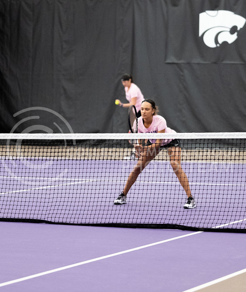 K-State's Karine-Marion Job and Maria Linares face off against Washington at Body First Tennis Center in Manhattan, KS. 02/14/20. (Dylan Connell | Collegian Media Group)