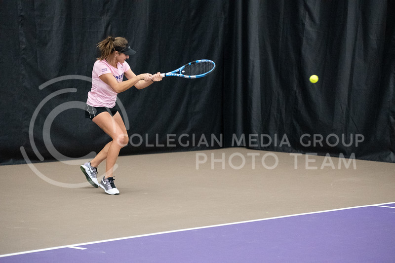 K-State's, Margot Decker, competed against Washington at Body First Tennis Center in Manhattan, KS. The Cats fell 4-1 on 02/14/20. (Dylan Connell | Collegian Media Group)