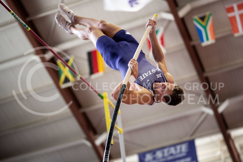 "Kansas State University, Pole Vaulter, Edgaras Benkunskas, vaults at the Track & Field Steve Miller Open, in Ahearn Field House on 02/22/20. Edgaras earned a runner-up finish with a personal record of 4.75 m/15-07"" (Dylan Connell 