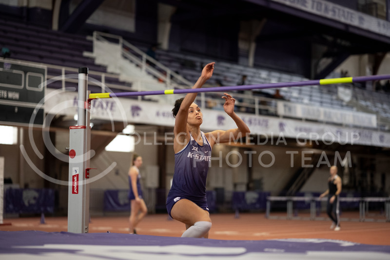 Kansas State's High Jumper, Ariel Okorie, jumps at the Track & Field Steve Miller Open indoor Ahearn Field House on 02/22/20. (Dylan Connell | Collegian Media Group)