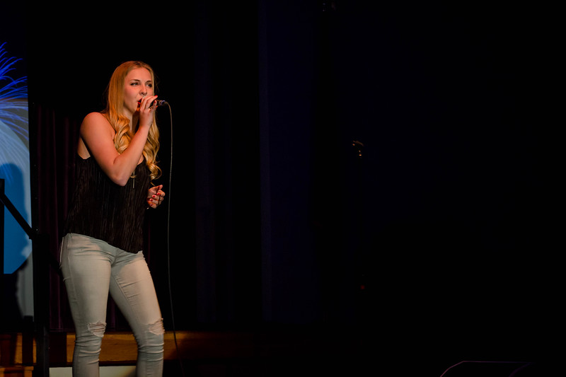 Abigail Lane performs a vocally challenging song that impresses the judges at Union Program Council's annual K-State Voice competition.