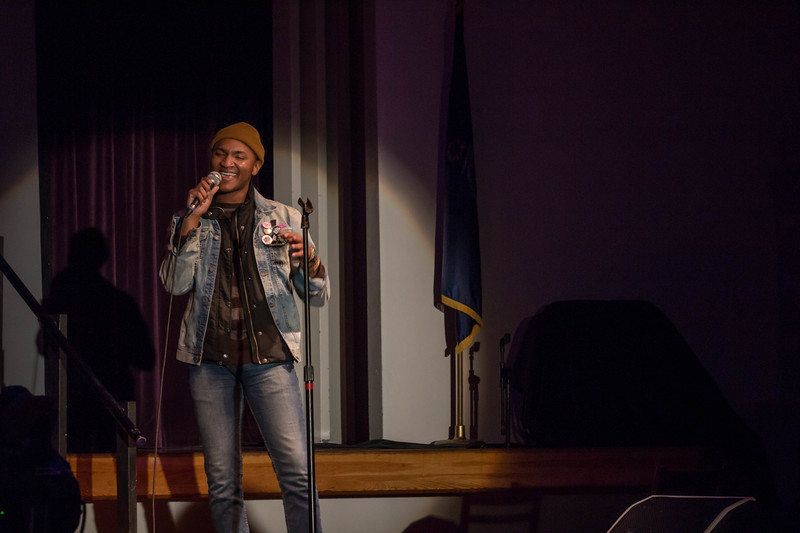 Eric Lyn, former contestant on The Voice, performs Valerie by Amy Winehouse at Union Program Council's annual K-State Voice competition.