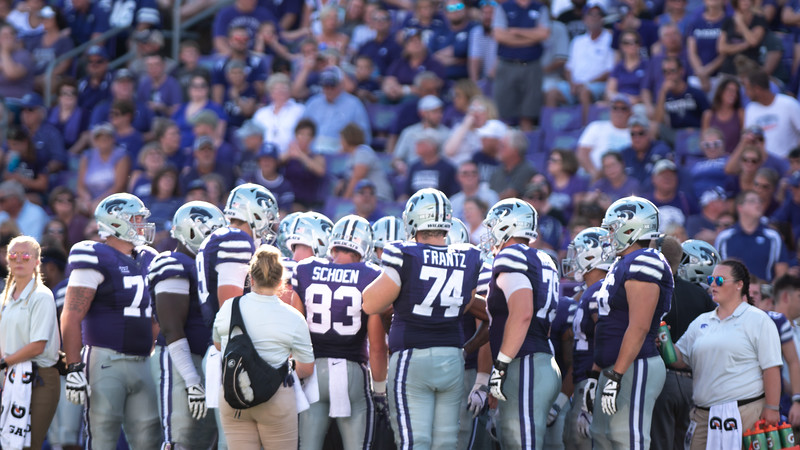 The Kansas State Wildcats huddle together during a timeout in the seconf half of the KSU vs UTSA game at Bill Snyder Stadium. The Roadrunners were down 20 points going into the second half and lost the game by 24 (Rowan Jones   Collegian Media Group)