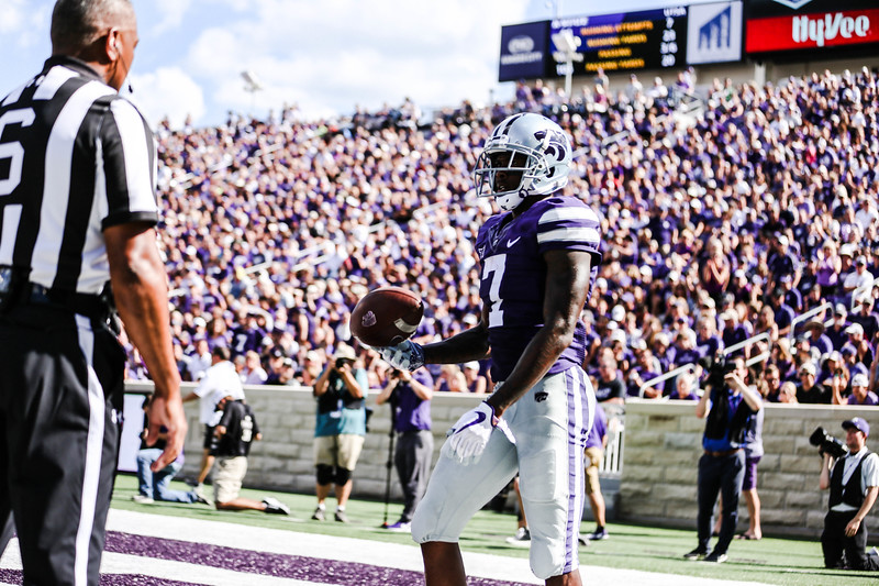Zuber walks off making a touchdown after a catch during the game against UTSA. The Wildcats ended the game with a score of 41-17, which was their second win of the 2018 season (Emily Lenk   Collegian Media Group)
