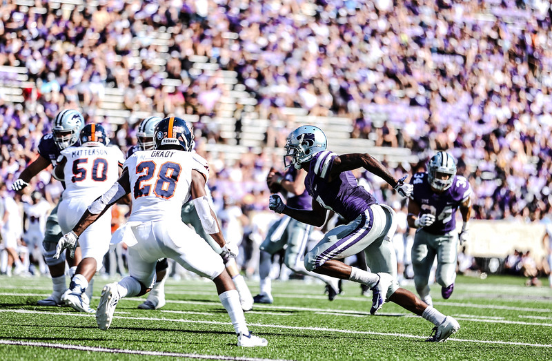 Junior Wide Receiver, Isaiah Zuberduring, begins a play during the game against UTSA at Bill Snyder Family Stadium on Saturday. (Emily Lenk   Collegian Media Group)