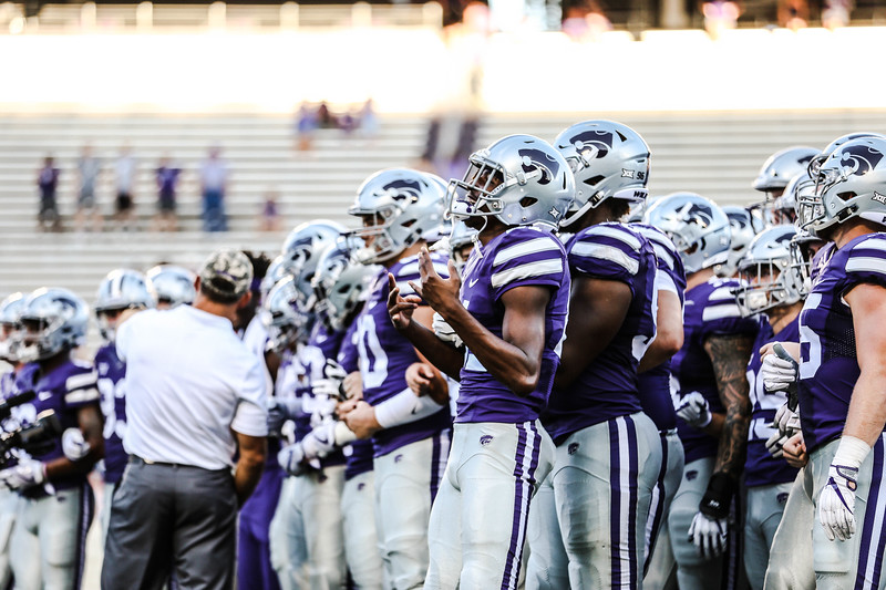 Kansas State Wildcats get ready to exit the field after their game against UTSA. They ended the game with a score of 41-17, which was their second win of the 2018 season (Emily Lenk   Collegian Media Group)