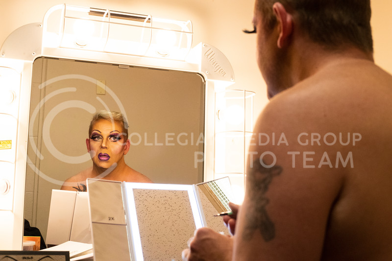 Dusty Garner-Carpenter a founding member of the KSU drag show gets does his facial makeup in the dressing room backstage at McCain Auditorium, which will host its 16th Drag Show at 7 pm on February 14th 2020. ( Dalton Wainscott | Collegian Media Group)