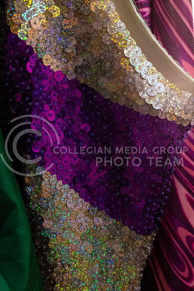 One of the many outfits on the rack in the dressing room backstage at McCain Auditorium, which will host its 16th Drag Show at 7 pm on February 14th 2020. ( Dalton Wainscott | Collegian Media Group)