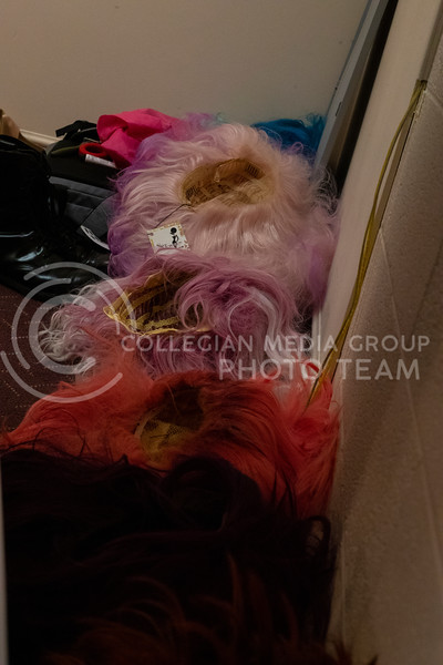 Wigs line the walls of the dressing room backstage at McCain Auditorium, which will host its 16th Drag Show at 7 pm on February 14th 2020. ( Dalton Wainscott | Collegian Media Group)