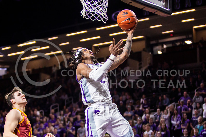 Junior guard Cartier Diarra charges the basket during K-State's Senior Day Saturday game against Iowa State in Bramlage Coliseum on March 7, 2020. The Wildcats took the Cyclones 79-63. (Logan Wassall | Collegian Media Group)