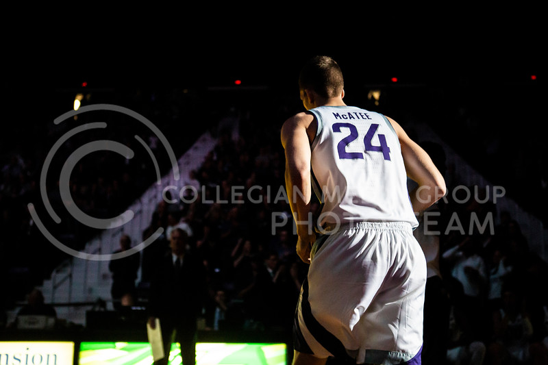 Senior forward Pierson McAtee is announced as a starter before K-State's Senior Day Saturday game against Iowa State in Bramlage Coliseum on March 7, 2020. The Wildcats took the Cyclones 79-63. (Logan Wassall | Collegian Media Group)