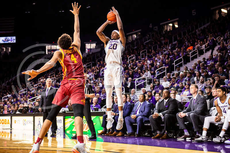Senior forward Xavier Sneed leaps up for a shot during K-State's Senior Day Saturday game against Iowa State in Bramlage Coliseum on March 7, 2020. The Wildcats took the Cyclones 79-63. (Logan Wassall | Collegian Media Group)