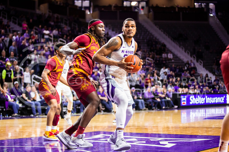 Junior forward Levi Stockard, III looks up to the basket for a play during K-State's Senior Day Saturday game against Iowa State in Bramlage Coliseum on March 7, 2020. The Wildcats took the Cyclones 79-63. (Logan Wassall | Collegian Media Group)