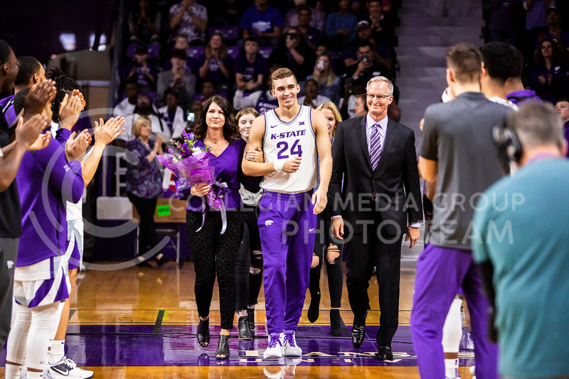 Senior forward Pierson McAtee is announced during K-State's Senior Day Saturday ceremony before their game against Iowa State in Bramlage Coliseum on March 7, 2020. The Wildcats took the Cyclones 79-63. (Logan Wassall | Collegian Media Group)