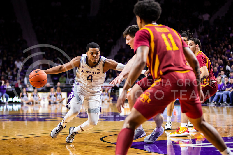 Junior guard David Sloan charges the basket during K-State's Senior Day Saturday game against Iowa State in Bramlage Coliseum on March 7, 2020. The Wildcats took the Cyclones 79-63. (Logan Wassall | Collegian Media Group)