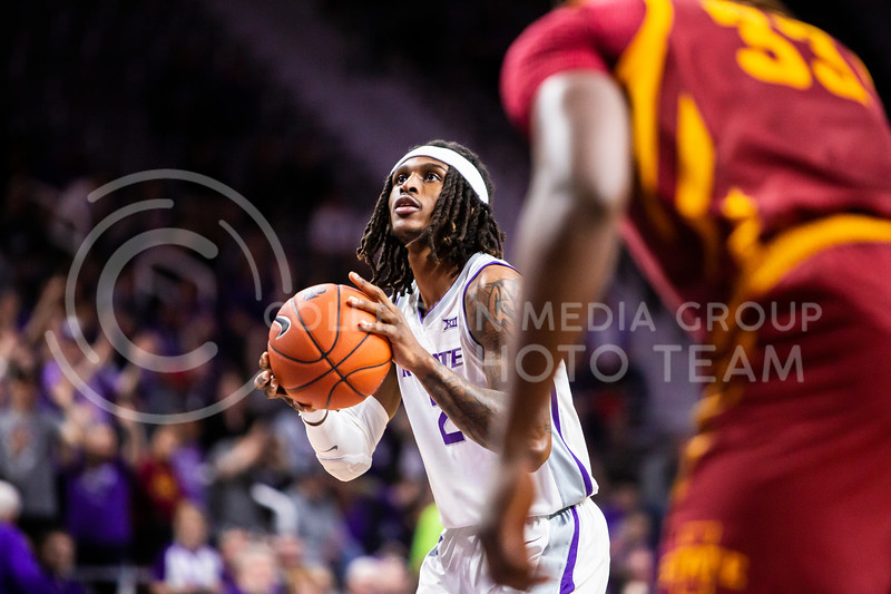 Junior guard Cartier Diarra takes a free throw during K-State's Senior Day Saturday game against Iowa State in Bramlage Coliseum on March 7, 2020. The Wildcats took the Cyclones 79-63. (Logan Wassall | Collegian Media Group)