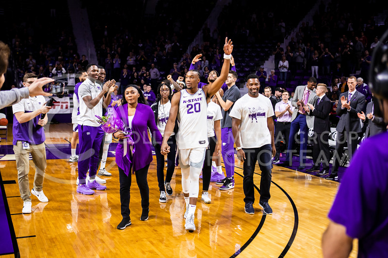 Senior forward Xavier Sneed is announced during K-State's Senior Day Saturday ceremony before their game against Iowa State in Bramlage Coliseum on March 7, 2020. The Wildcats took the Cyclones 79-63. (Logan Wassall | Collegian Media Group)