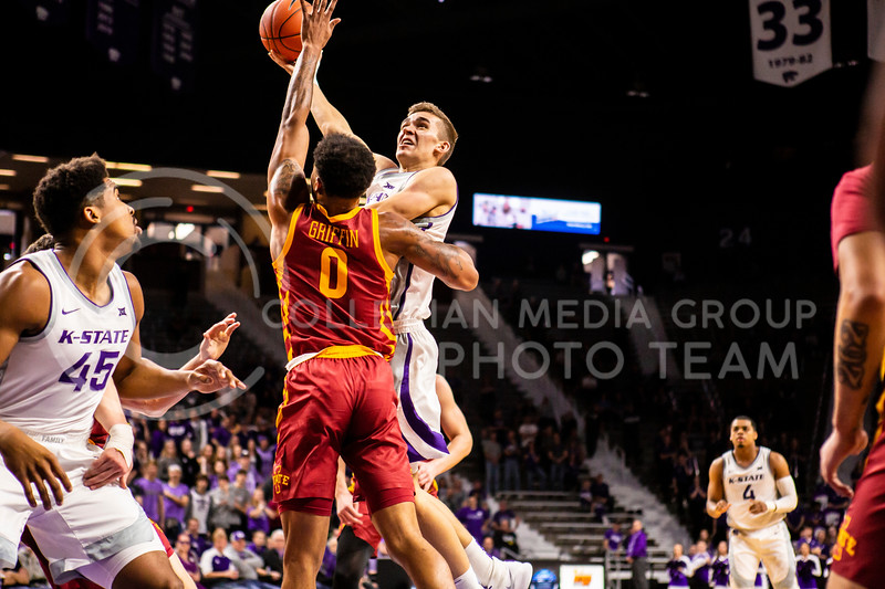 Senior forward Pierson McAtee leaps dowards the basket for a shot during K-State's Senior Day Saturday game against Iowa State in Bramlage Coliseum on March 7, 2020. The Wildcats took the Cyclones 79-63. (Logan Wassall | Collegian Media Group)