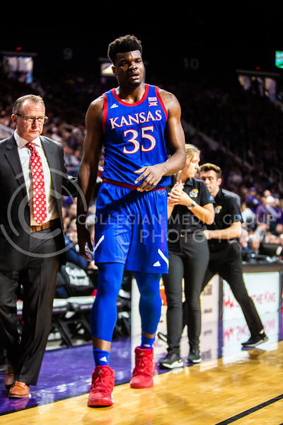 Senior center Udoka Azubuike walks off the court after an injury during K-State's men's basketball sunflower showdown against Kansas in Bramlage Coliseum on Feb. 29, 2020. The Jayhawks narrowly beat the Wildcats 62-58. (Logan Wassall | Collegian Media Group)