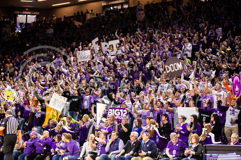 K-State fans cheer on their men's basketball team during this year's sunflower showdown against Kansas in Bramlage Coliseum on Feb. 29, 2020. The Jayhawks narrowly beat the Wildcats 62-58. (Logan Wassall | Collegian Media Group)
