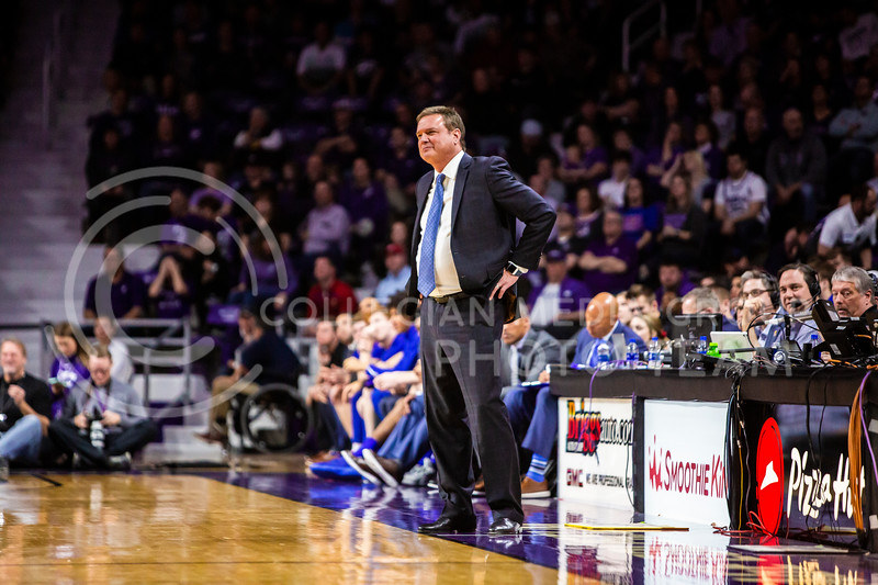 Kansas head coach Bill Self watches his players during their men's basketball sunflower showdown against K-State in Bramlage Coliseum on Feb. 29, 2020. The Jayhawks narrowly beat the Wildcats 62-58. (Logan Wassall | Collegian Media Group)