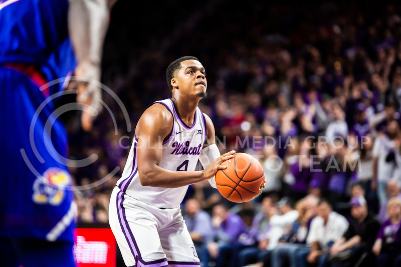 Junior guard David Sloan takes a free throw during K-State's men's basketball sunflower showdown against Kansas in Bramlage Coliseum on Feb. 29, 2020. The Jayhawks narrowly beat the Wildcats 62-58. (Logan Wassall | Collegian Media Group)