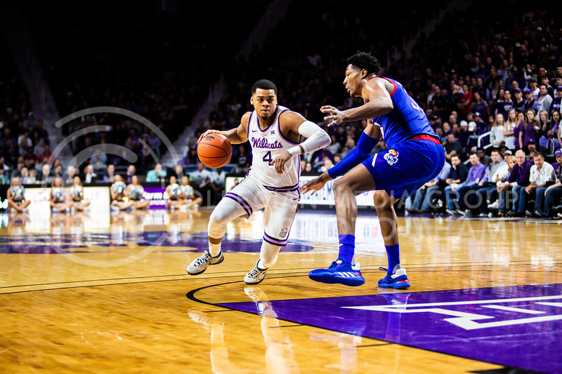 Junior guard David Sloan charges the basket during K-State's men's basketball sunflower showdown against Kansas in Bramlage Coliseum on Feb. 29, 2020. The Jayhawks narrowly beat the Wildcats 62-58. (Logan Wassall | Collegian Media Group)